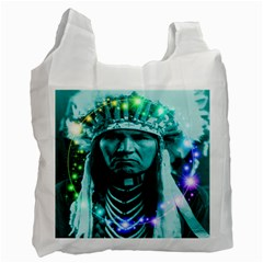 Magical Indian Chief White Reusable Bag (one Side) by icarusismartdesigns