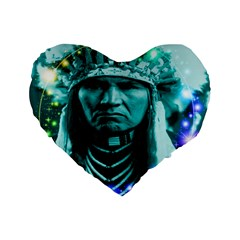 Magical Indian Chief 16  Premium Heart Shape Cushion  by icarusismartdesigns