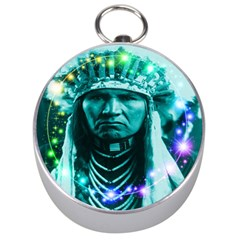 Magical Indian Chief Silver Compass by icarusismartdesigns