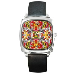 Crazy Lip Abstract Square Leather Watch by OCDesignss