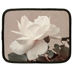 White Rose Vintage Style Photo In Ocher Colors Netbook Sleeve (xxl) by dflcprints
