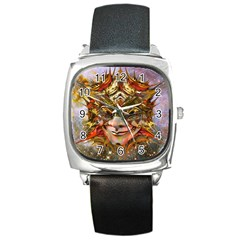 Star Clown Square Leather Watch by icarusismartdesigns