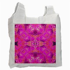 Beautiful Pink Coral  White Reusable Bag (one Side) by OCDesignss