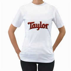 Taylor Guitars Bold  Women s T Shirt (white)  by goodmusic