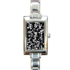 Shades Of Gray  And Black Oils #1979 Rectangular Italian Charm Watch by Khoncepts