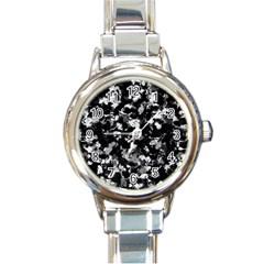 Shades Of Gray  And Black Oils #1979 Round Italian Charm Watch by Khoncepts