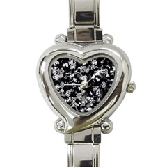Shades Of Gray  And Black Oils #1979 Heart Italian Charm Watch  by Khoncepts