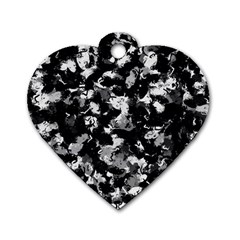 Shades Of Gray  And Black Oils #1979 Dog Tag Heart (two Sided) by Khoncepts