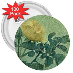 Yellow Rose Vintage Style  3  Button (100 Pack) by dflcprints