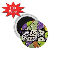Multicolored Tribal Print Abstract Art 1 75  Button Magnet (100 Pack) by dflcprints