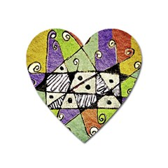 Multicolored Tribal Print Abstract Art Magnet (heart) by dflcprints