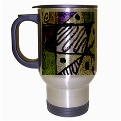 Multicolored Tribal Print Abstract Art Travel Mug (silver Gray) by dflcprints