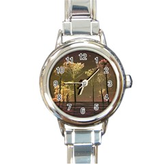 Fantasy Landscape Round Italian Charm Watch by dflcprints
