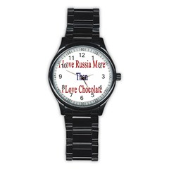 I Love Russia More Than I Love Chocolate Sport Metal Watch (black)