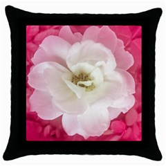 White Rose With Pink Leaves Around  Black Throw Pillow Case by dflcprints