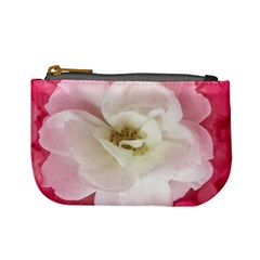 White Rose With Pink Leaves Around  Coin Change Purse