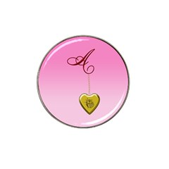 A Golden Rose Heart Locket Hat Clip Ball Marker