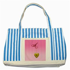 A Golden Rose Heart Locket Striped Blue Tote Bag