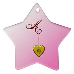 A Golden Rose Heart Locket Star Ornament (two Sides)