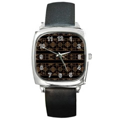 Dark Geometric Abstract Pattern Square Leather Watch by dflcprints