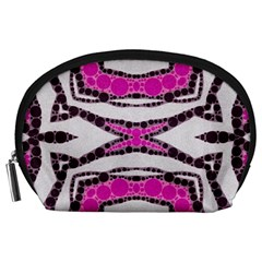 Pink Black Zebra  Accessory Pouch (large) by OCDesignss
