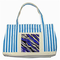Blue Zebra Bling  Blue Striped Tote Bag by OCDesignss