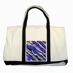 Blue Zebra Bling  Two Toned Tote Bag