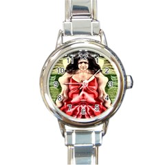 Cubist Woman Round Italian Charm Watch by icarusismartdesigns