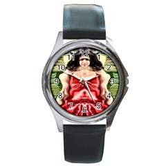 Cubist Woman Round Leather Watch (silver Rim)