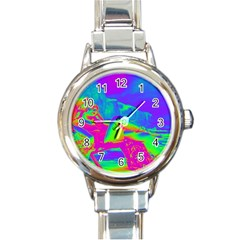 Seaside Holiday Round Italian Charm Watch by icarusismartdesigns
