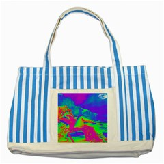 Seaside Holiday Blue Striped Tote Bag by icarusismartdesigns