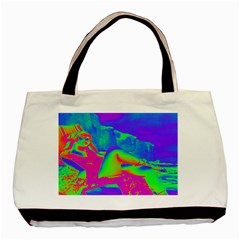 Seaside Holiday Twin Sided Black Tote Bag by icarusismartdesigns