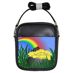 Pot Of Gold With Gerbil Girl s Sling Bag by designedwithtlc