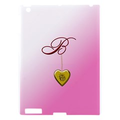 B Golden Rose Heart Locket Apple Ipad 3/4 Hardshell Case