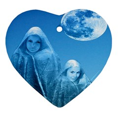 Full Moon Rising Heart Ornament by icarusismartdesigns