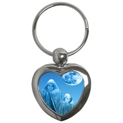 Full Moon Rising Key Chain (heart) by icarusismartdesigns