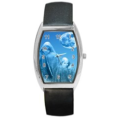 Full Moon Rising Tonneau Leather Watch by icarusismartdesigns