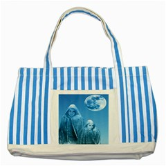 Full Moon Rising Blue Striped Tote Bag by icarusismartdesigns