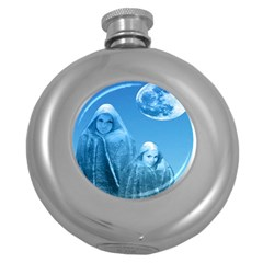 Full Moon Rising Hip Flask (round) by icarusismartdesigns