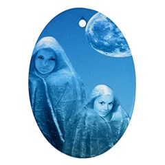 Full Moon Rising Oval Ornament (two Sides)