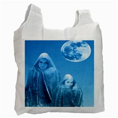 Full Moon Rising White Reusable Bag (two Sides) by icarusismartdesigns