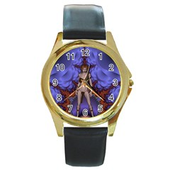 Chaos Round Leather Watch (gold Rim)  by icarusismartdesigns
