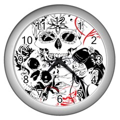 Skull Love Affair Wall Clock (silver) by vividaudacity