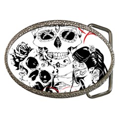Skull Love Affair Belt Buckle (oval) by vividaudacity