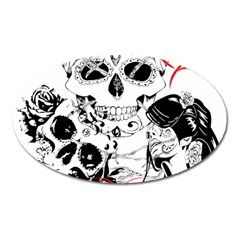 Skull Love Affair Magnet (oval) by vividaudacity