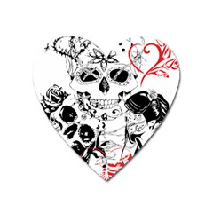 Skull Love Affair Magnet (heart) by vividaudacity