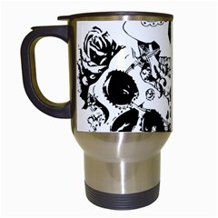 Skull Love Affair Travel Mug (white) by vividaudacity