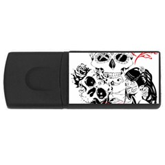 Skull Love Affair 4gb Usb Flash Drive (rectangle) by vividaudacity
