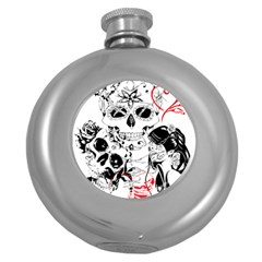 Skull Love Affair Hip Flask (round) by vividaudacity