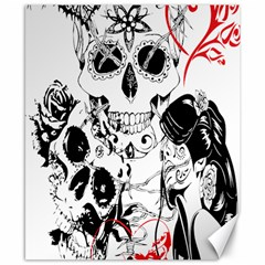 Skull Love Affair Canvas 8  X 10  (unframed) by vividaudacity